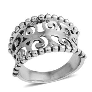 Jewelry - Silvertone Openwork Concave Ring